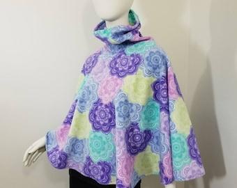 fleece pastel colors poncho