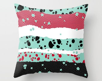 Mint abstract decorative pillow abstract pop art pattern colorful cushion home decor mint red black white dots
