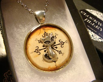Silver Cat Over Compass Pendant Necklace (2422)