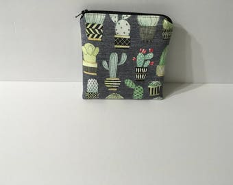 Cactus Print Zippered Pouch, Small Cosmetic Bag, Small Crocheting/Knitting Notions Bag, Quiltsy Handmade