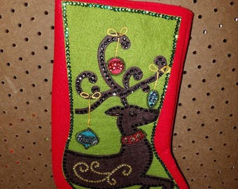 Finished handmade Reindeer with ornaments Christmas stocking - fsk34