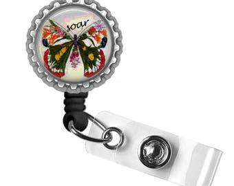 Soar..Beautiful Butterfly..Retractable ID Badge Reel.. ID Holder, Bottle Cap ID Badge.. Great Gift