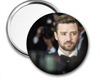 Justin Timberlake..Pocket Mirror.Magnet.Pinback..Unique Gift..Accessory..Birthday Gift..Valentine's Day Gift