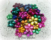 50 Mixed Flat Back Flower Rhinestones Acrylic Gem Flowers in Mixed Colors for Scrapbooking Cards Mini Albums and Papercrafts Jewelry DIY