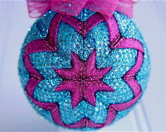 Quilted Christmas Ornament Ball/Pink and Aqua - Sea Princess