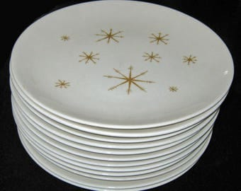 Star Glow dinner plates Royal China Ironstone mid century atomic starburst set of 12