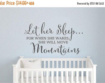 20% OFF Let her sleep...- children Vinyl decal Lettering wall  art words art  nursery decals girls Bedroom    itswritteninvinyl