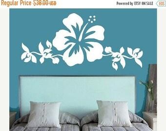 20% OFF Hibiscus Flower Art- Bedroom  Vinyl Lettering wall words graphics Home decor itswritteninvinyl