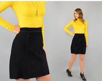 SUMMER SALE 80's Black Suede Skirt