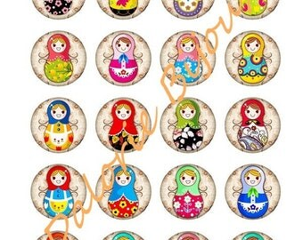 40 mm Board Digital Collage images Digital Russian doll for 40 mm round cabochons