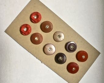 10 Vintage Rhinestone Buttons in Reds and Purples for Sewing and Crafting