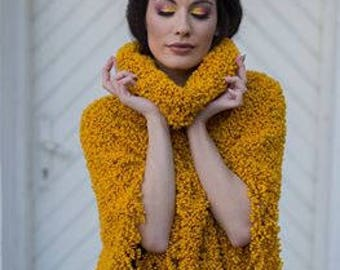 Astraghan handknitted poncho mustard freesize ready to ship or for order