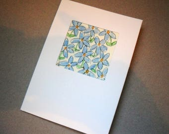 Blue Floral Greetings Card, Watercolour Flowers, Blank Card, Note Card, Birthday Card