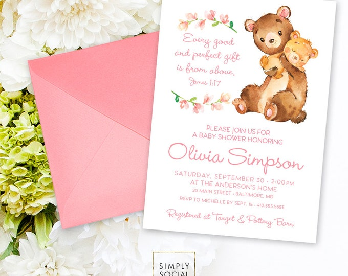 Teddy Bear Baby Shower Invitation - James 1:17 Every Good and Perfect Gift is from Above Mother and Baby Mama Bear Floral Printable