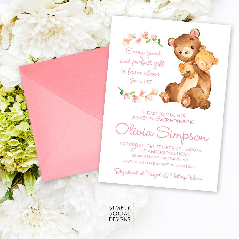 Teddy Bear Baby Shower Invitation - James 1:17 Every Good and ...