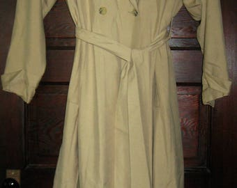 J Peterman 1990s Long Silk Camel Trench Coat