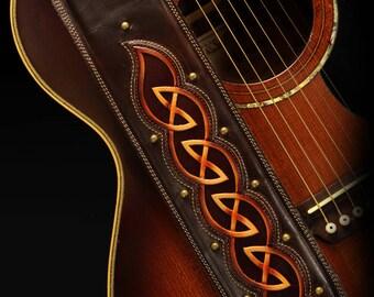 Custom Leather Guitar Strap: Dara Wilderland Guitar Strap