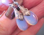 MOONSTONE OPALISED and Sterling SILVER Teardrop Earrings