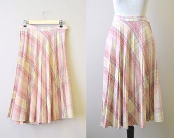 1970s Pastel Plaid Pleated Skirt