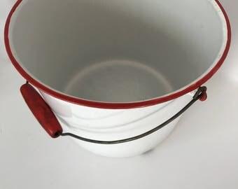 Vintage Enamel Ware Pail/Vintage Enamel Bucket/Red Rim Enamel Pail/Farmhouse Enamel Pail