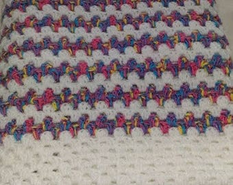 Crochet Baby Cot Blanket in White with coloured bands