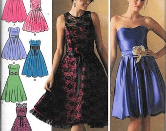 Simplicity 4070 Misses Strapless Or Short Sleeve Evening Formal Dress Sewing Pattern UNCUT Size 12, 14, 16, 18, 20