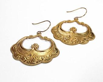 Art Nouveau Gold Earrings, Boho Earrings, Gypsy Dangle Earrings, Tribal Earrings, ORNATE Hoop Earrings, Holiday Gift - Steampunk Boutique