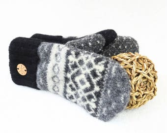Wool Mittens CHARCOAL GRAY & BLACK Felted Sweater Wool Mitts Fair Isle Sweater Wool Gloves Fleece Lined Gift for Men or Women by WormeWoole