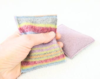 Hand Warmers PASTEL Striped Handwarmers Wool Rice Bags Ecofriendly Stocking Stuffer Teacher Gift Coworker Gift Reusable by WormeWoole