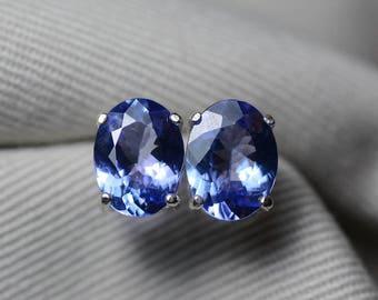 Tanzanite Earrings, 3.34 Carat Tanzanite Stud Earrings, Oval Cut, Sterling Silver, IGI Certified, Genuine Real Natural Tanzanite Jewelry