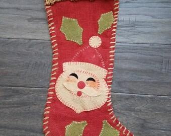 Vintage Burlap Christmas Stocking with Santa