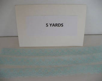 5 Yards 1/2 in. Aqua Polyester Lace