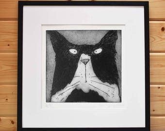 Tom Cat - original black and white Tom cat print black and white cat fine art limited edition black and white Tom Cat etching unframed