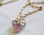 Raw Amethyst Gold Necklace Statement Crystal Pendant 30 Inch Chain Genuine Handwrapped Lavender Stone Natural Gem Birthstone Jewelry