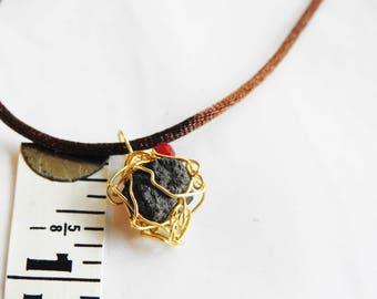 Iceland Lava Necklace, Natural Lava Stone, Rustic, Silver Crochet, Icelandic Lava Jewelry, Lava Pendant, Gold Wire,  Gift