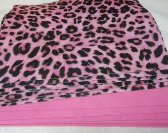 Acrylic Felt Lot, 8 Sheets 9 X 12 Cheetah, 3 Sheets Hot Pink Fiesta Felt 12 X 18, Craft Supplies
