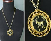 Vintage 70s Zodiac ARIES Ram Astrology Sign Disco MEDALLION Statement Necklace Gold & Black Pendant Rope Chain