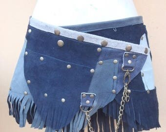 "20%OFF bohemian tribal gypsy fringed leather belt..28"" to 36"" waist or hips.."