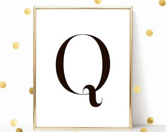 SALE -50% Letter Q Monogram Alphabet Name Digital Print Instant Art INSTANT DOWNLOAD Printable Wall Decor