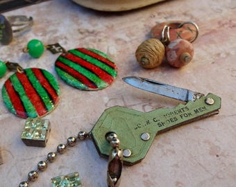 Advertising Key and Found Items / Vintage Scrap Destash for Assemblage / Metal, Brass, Iron, Steampunk Supply / Sculpture Supply (C5)