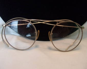 Antique Gold Wire Rim Round Eyeglasses Art Deco Period Metal Frames 12K Gold Filled Spectacles