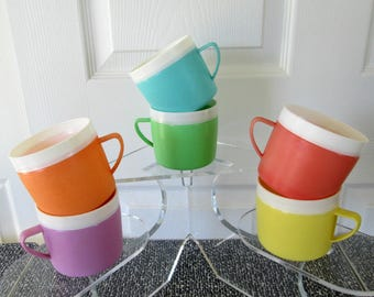 Vintage Bolero Therm-o-Ware Mugs | Set of Six | Colorful Plastic Mid Century Insulated Mugs | Perfect for Trailer, Camping, or Glamping