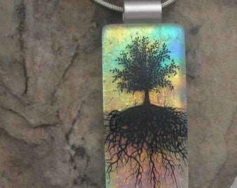 Tree of Life Necklace Dichroic Fused Glass Tree Pendant