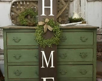 Home Sign with Wreath. Tall Porch sign. Home Porch Sign Brown welcome sign. Welcome sign. Vertical Home Sign. Black. White.