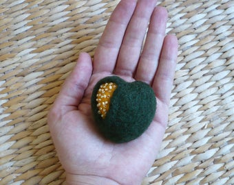 Open heart green and yellow felted wool with Pearl brooch