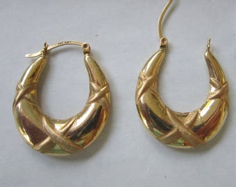 14K 3.82  Grams Earrings-Real Genuine Yellow Gold-Large Decorative Hoop-PIERCED-25mm x 24mm -Vintage EXCELLENT