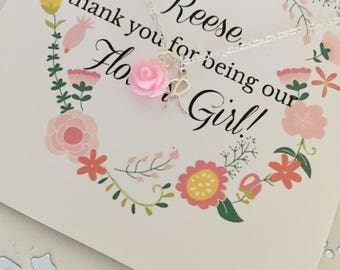 Personalized Flower Girl Necklace | Pink Flower Girl Necklace | Initial Charm | Girls Jewelry | Flower Girl Gift | Custom Necklace