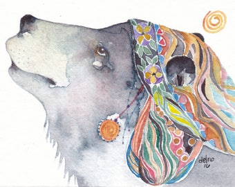 BLACK BEAR greeting card watercolor spirit totem animal 'Wild Strawberries' Native American