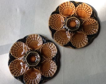 Pair of Vintage Mid Century French Country Majolica Style -Porcelain Oyster Plates-