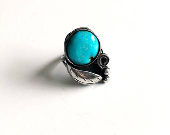 Sterling Silver Vintage Turquoise Southwestern Boho Ring